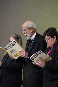 Bishop Jessica Crist, Presiding Bishop Mark Hanson and Bishop Elizabeth Eaton, participate in the morning session.