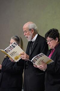 Bishop Jessica Crist, Presiding Bishop Mark Hanson and Bishop Elizabeth Eaton, participate in the morning session.