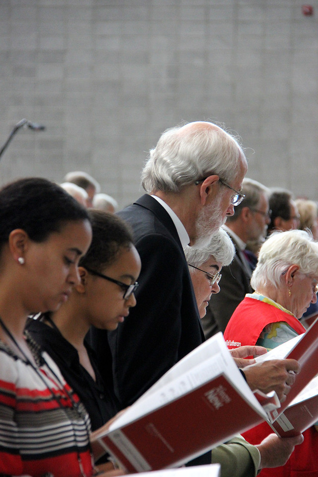 Presiding Bishop Mark Hanson and his wife, Mrs. Ione Hanson, attend morning worship.