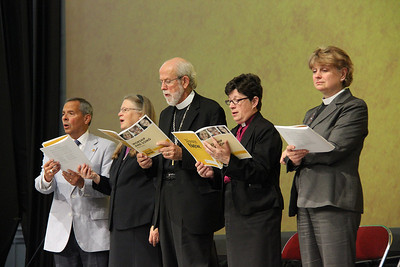 Carlos E. Peña, vice president of the ELCA, Bishop Jessica Crist, Presiding Bishop Mark Hanson, Bishop Elizabeth Eaton and Bishop Ann Svennungsen, participate in the morning session.