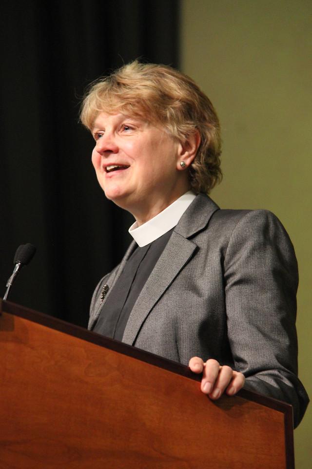Bishop Ann Svennungsen, nominee for presiding bishop, responds to questions.