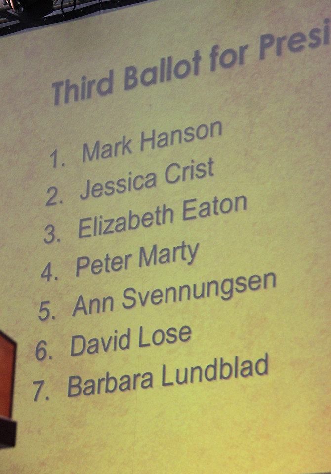 Listed on the screen are the top seven nominees for presiding bishop.
