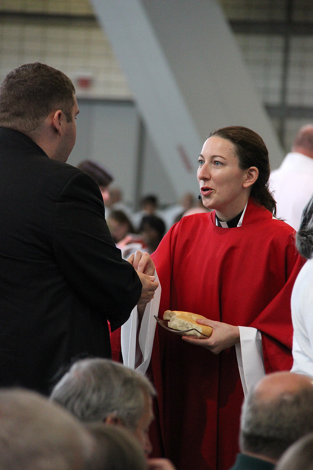 Holy Communion is shared during worship by the Rev. Erin Evans.