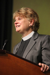 Bishop Ann Svennungsen, nominee for presiding bishop, responds to questions.