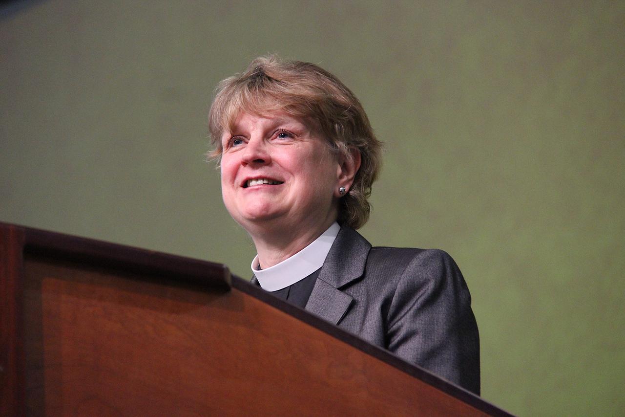 Bishop Ann Svennungsen, nominee for presiding bishop, addresses the Assembly.
