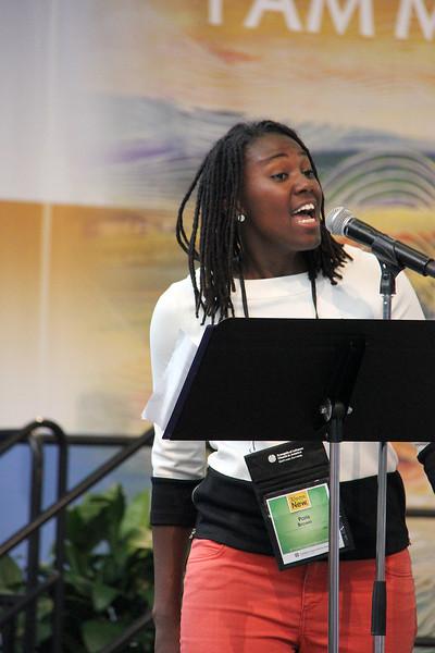 A singer begins worship.