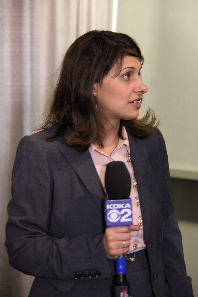 Melissa Ramirez-Cooper, public relations manager, speaks at a news conference on Wednesday, Aug. 14.