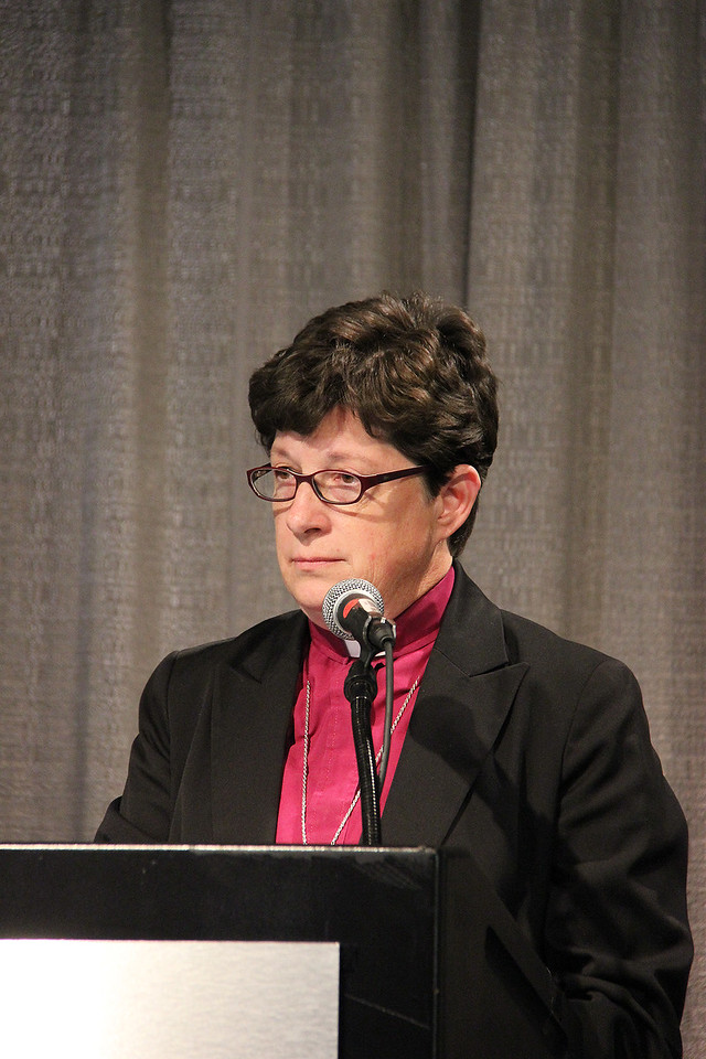 The Rev. Elizabeth A. Eaton, presiding bishop-elect, answers questions at a news conference on Wednesday, Aug. 14.