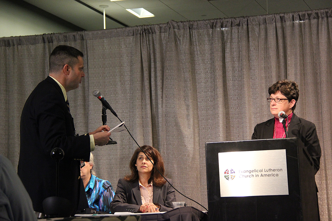 The Rev. Elizabeth A. Eaton, presiding bishop-elect, receives a question at a news conference on Wednesday, Aug. 14.
