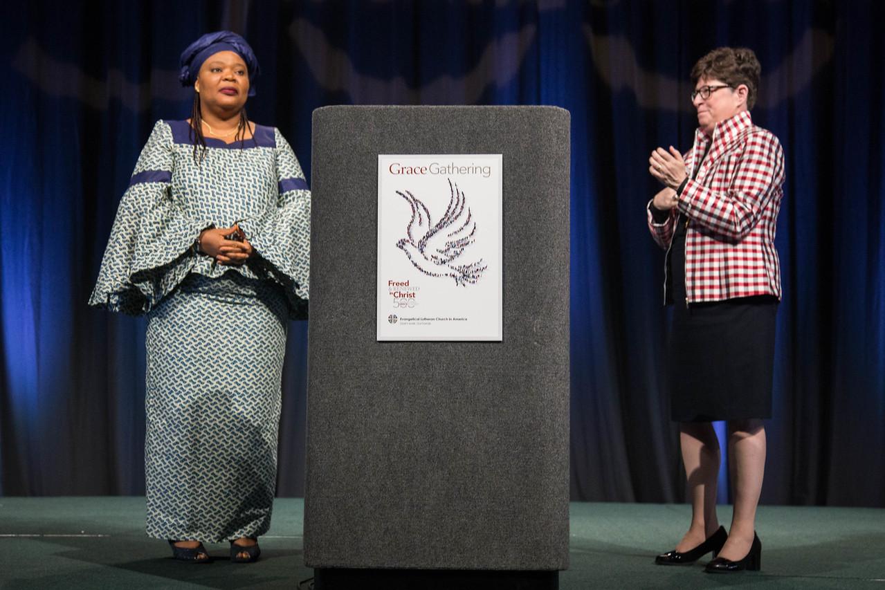 Grace Gathering. Bp. Eaton welcomes keynote Speaker Leymah Gbowee.