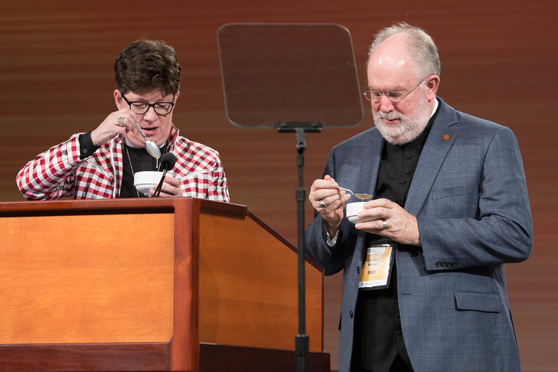 081216 - New Orleans, LA - The 2016 Churchwide Assembly Plenary Session Eight. William Horne elected new vice president. Pictured is Bp. Eaton and ELCA Secretary Chris Boerger eating their melted ice cream from the Youth and Young Adults ice cream social from the night before.