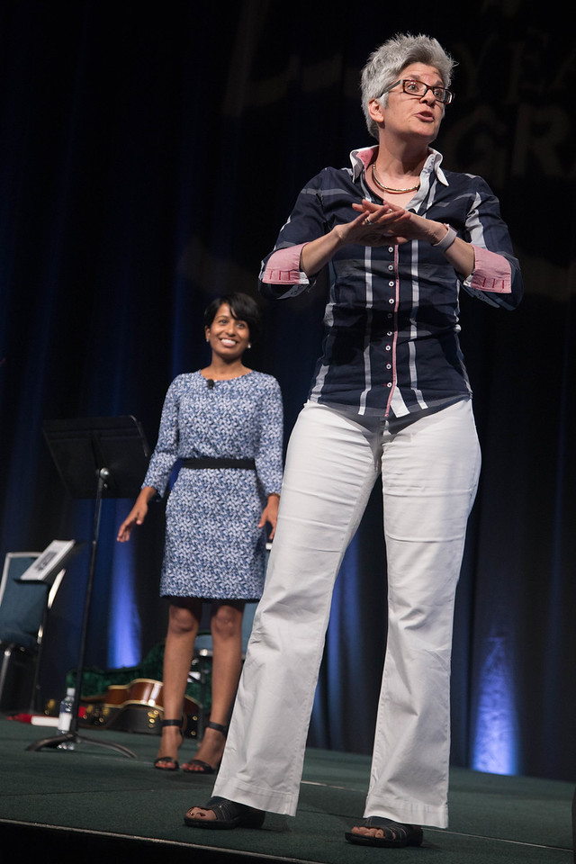Opening Session for Grace Gathering. Cheryl Philip, Manager, Donor Relations for the Campaign for the ELCA and the Rev. Dr. Shauna Hannan, associate professor of homiletics, Pacific Lutheran Theological Seminary (of California Lutheran University) address the opening session.