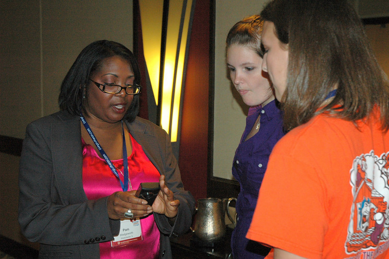 """Pam Wedgeworth assists participants of the """"Delivering a Great Flip Video"""" in creating their own video"""