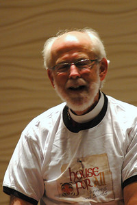 Presiding Bishop Mark S. Hanson laughing during plenary session one