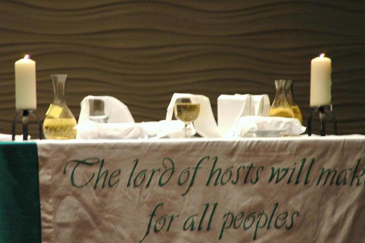 The altar at opening worship