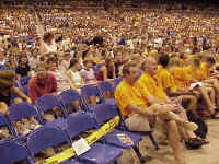 The Trans World Dome floor and first deck were filled with Lutherans from throughout the church during Mass Gatherings.
