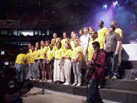 A choir made up of a participants who attended the Multicultural Youth Leadership Event which preceded the 2000 ELCA Youth Gathering, performed at the closing worship service at the Trans World Dome.