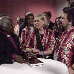 Archbishop Desmond Tutu, retired Anglican archbishop of Cape Town, South Africa, and winner of the Noel Peace Prize brought a powerful message of peace and reconciliation to the 2000 Youth Gathering.  He attended a reception in his honor following his presentations.