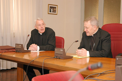 The Rev. Lowell G. Almen, left, ELCA secretary, addresses a question to Cardinal Walter Kasper, president of the Pontifical Council for the Promotion of Christian Unity, at The Vatican March 21. The ELCA delegation visited several Vatican leaders during its 5-day visit to Rome.