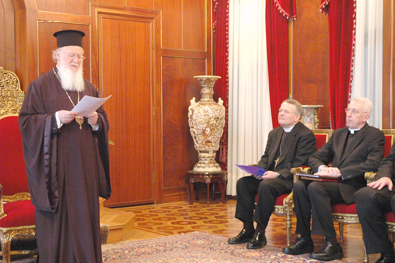 His All Holiness Ecumenical Patriarch Bartholomew, world Orthodox Church leader, addressed the ELCA delegation in Istanbul March 17, 2006. Seated are, from left, the Rev. E. Roy Riley Jr., bishop of the ELCA New Jersey Synod and chair of the ELCA Conference of Bishops; and the Rev. Lowell G. Almen, ELCA secretary. Almen and Riley were delegation leaders.