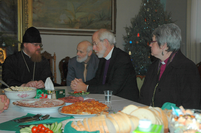 An official of the Russian Orthodox Patriarchate, left, Jerusalem, meets with ELCA Presiding Bishop Mark Hanson and ELCIC National Bishop Susan Johnson.  Second from left is Dany Haimovici, Israel Center for Christian-Jewish friendship and cooperation.