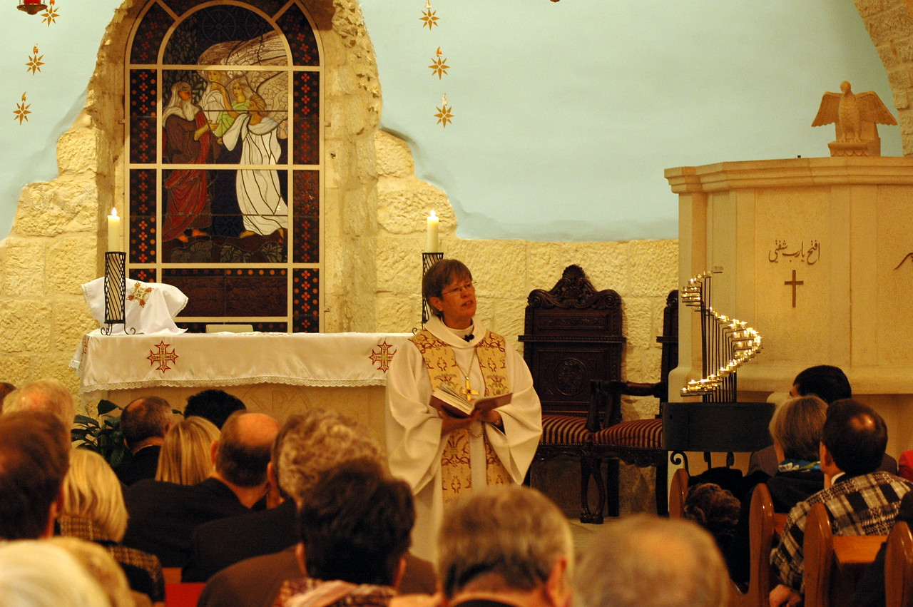 Bishop Marie Jerge, ELCA Upstate New York Synod, preached at the concluding worship service Jan. 13 at the Evangelical Lutheran Church of the Reformation, Beit Jala, West Bank.