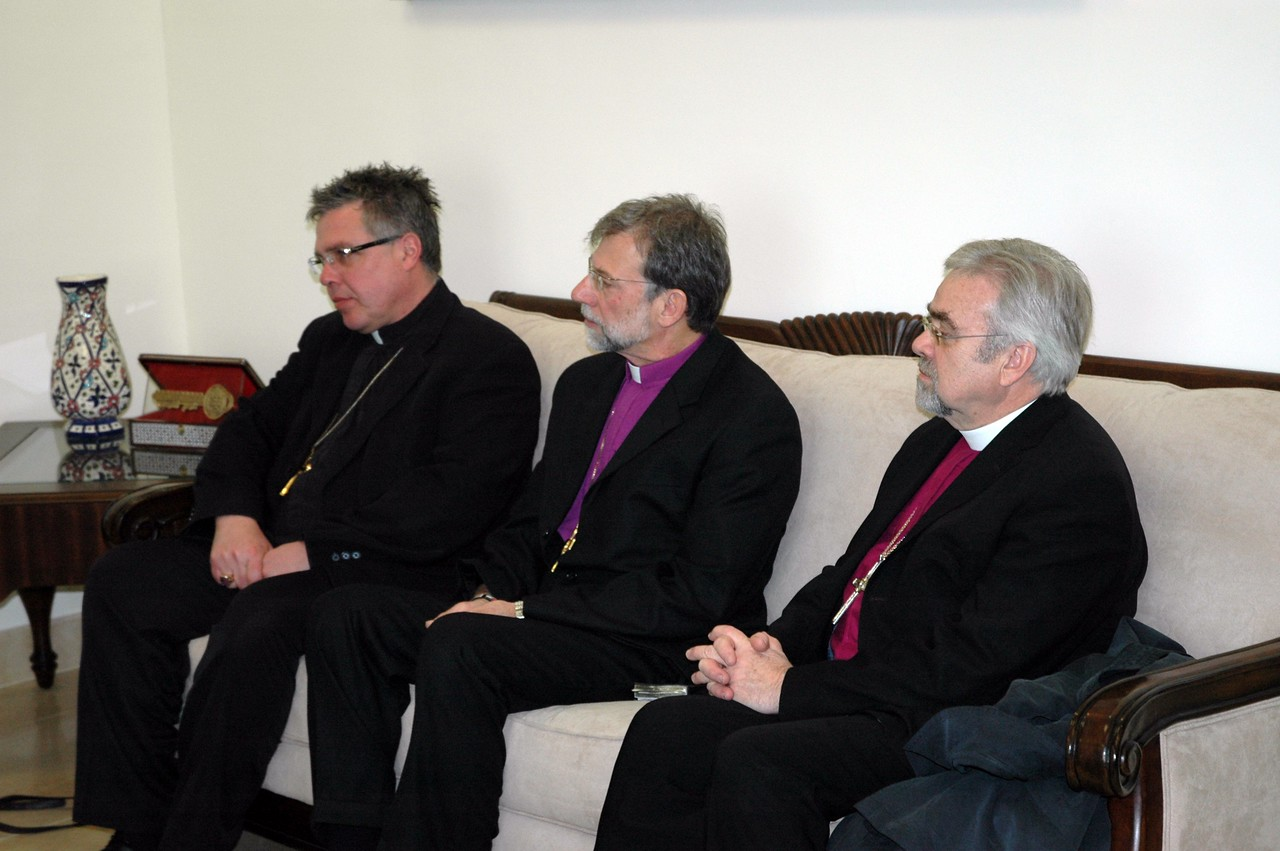 From left, Bishop Michael Pryse, ELCIC Eastern Synod, Bishop Bruce Burnside, ELCA South-Central Synod of Wisconsin and Bishop Dean Nelson, ELCA Southwest California Synod, were part of the bishops' Jan. 13 meeting with Dr. Salam Fayaad, Prime Minister, Palestinian Authority.