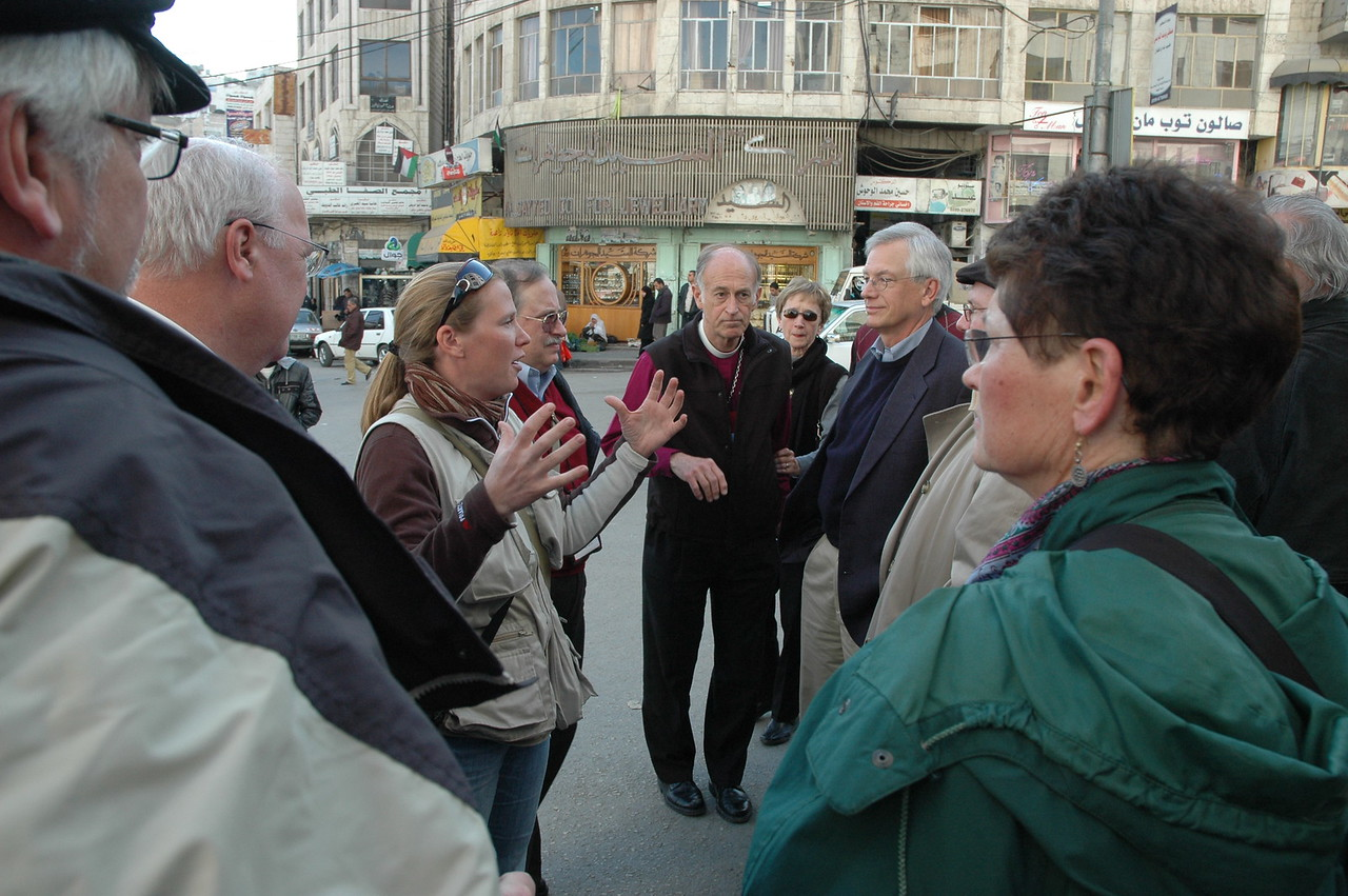 North American Lutheran bishops, spouses and staff took a walking tour Jan. 10 of Hebron, a conflicted city in the West Bank. Their hosts were members of the Ecumenical Accompaniment Program in Palestine and Israel, one of whom explains the situation in Hebron.