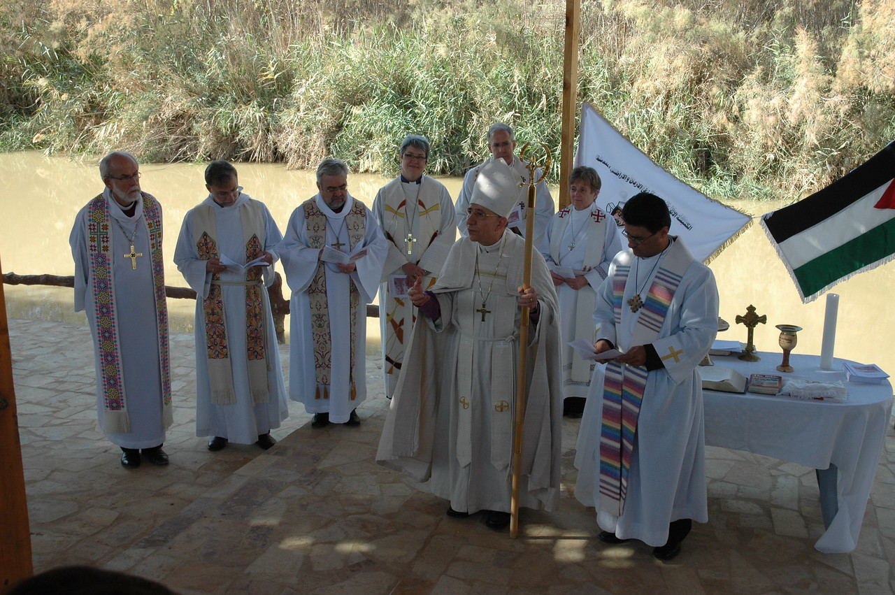Clergy and bishops of the ELCA, ELCIC and ELCJHL led a worship service at Jesus' baptismal site in Jordan Jan. 6.