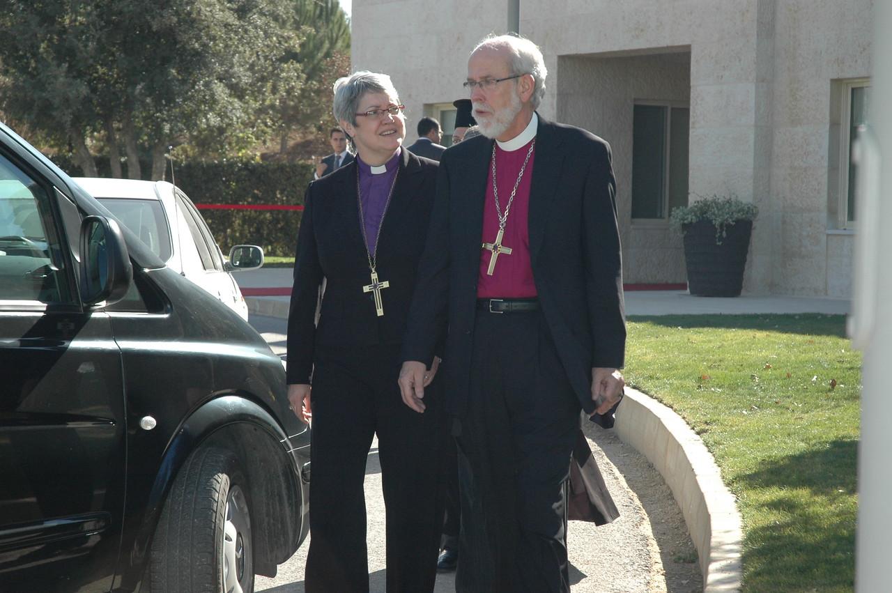 ELCIC National Bishop Susan Johnson and ELCA Presiding Bishop Mark Hanson leave the palace in Amman, Jordan, Jan. 6, following an audience with His Majesty King Abdullah II.