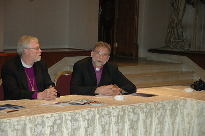 Bishop Bruce Burnside, ELCA South Central Synod of Wisconsin, Madison, addresses a question to participants in a forum Jan. 5 at the Jordanian Interfaith Coexistence Resarch Center in Amman.  At left is Bishop Murray Finck, ELCA Pacifica Synod, Santa Ana, Calif.