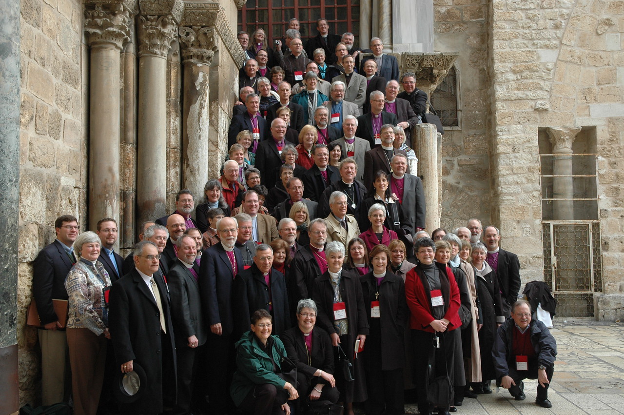 ELCA and ELCIC bishops, spouses and staff gathered outside the Church of the Holy Sepulchre, Jan. 9, In Jerusalem.