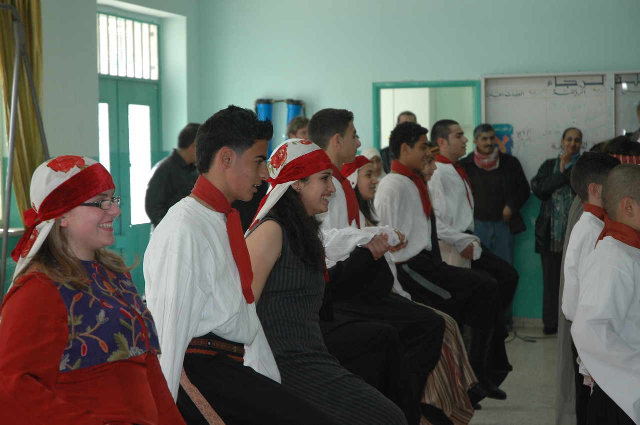 The Al Raja Dance Troupe performs for the North American bishops at Evangelical Lutheran School of Hope, Ramallah, Jan. 12.