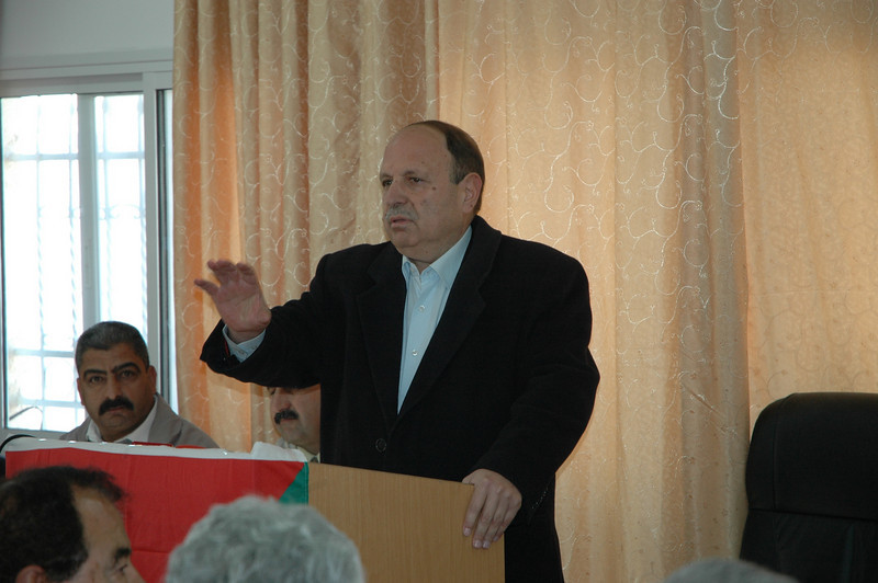 Adnan Husseini, governor of Jerusalem, Palestinian Authority, speaks to the North American Lutheran bishops at Beddo, West Bank, Jan. 12.