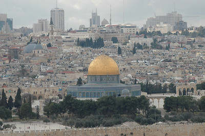 The Dome of the Rock on the Temple Mount in Jerusalem, a well-known Islamic shrine, is a familiar site in the Jerusalem skyline.