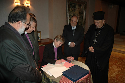Bishop Margaret Payne, ELCA New England Synod, signs a document calling for Christian-Muslim cooperation, dialogue and work for peace.  Several ELCA bishops signed the document in Amman, Jordan, Jan. 5.