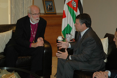 His Majesty King Abdullah II of Jordan, right, addresses ELCA Presiding Bishop Mark Hanson during an audience with the Jordanian monarch Jan. 6 in Amman.  ELCIC Bishop Susan Johnson and ELCJHL Bishop Munib Younan also attended.