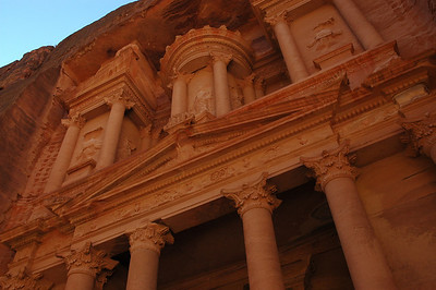 A close-up view of the most famous tomb at the Petra site.