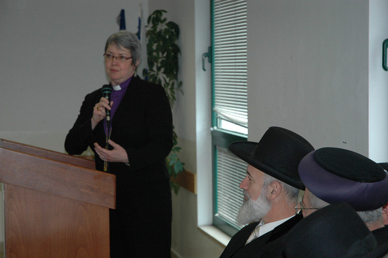 ELCIC National Bishop Susan Johnson addresses the two chief rabbis of Israel Jan. 8 in Jerusalem.