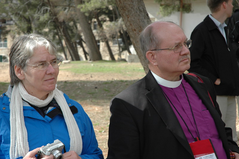 Bishop James Arends, right, ELCA La Crosse Area Synod, and his wife, Lynn, visited Augusta Victoria Hospital, an LWF medical facility in East Jerusalem Jan. 9.