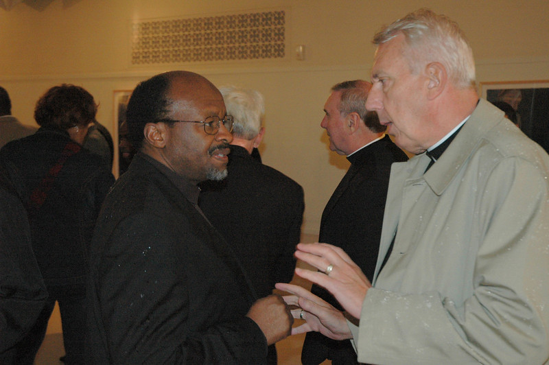 The Rev. Ishmael Noko, left, general secretary, the Lutheran World Federation, speaks with the Rev. Lowell Almen, former secretary, Evangelical Lutheran Church in America and co-chair of the U.S. Lutheran-Roman Catholic Dialogue.