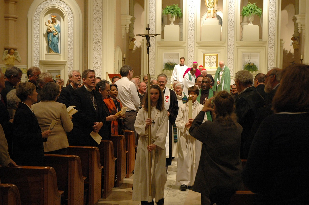 Leaders of the Oct. 1 JDDJ celebration in Chicago recess following the Evening Prayer service.