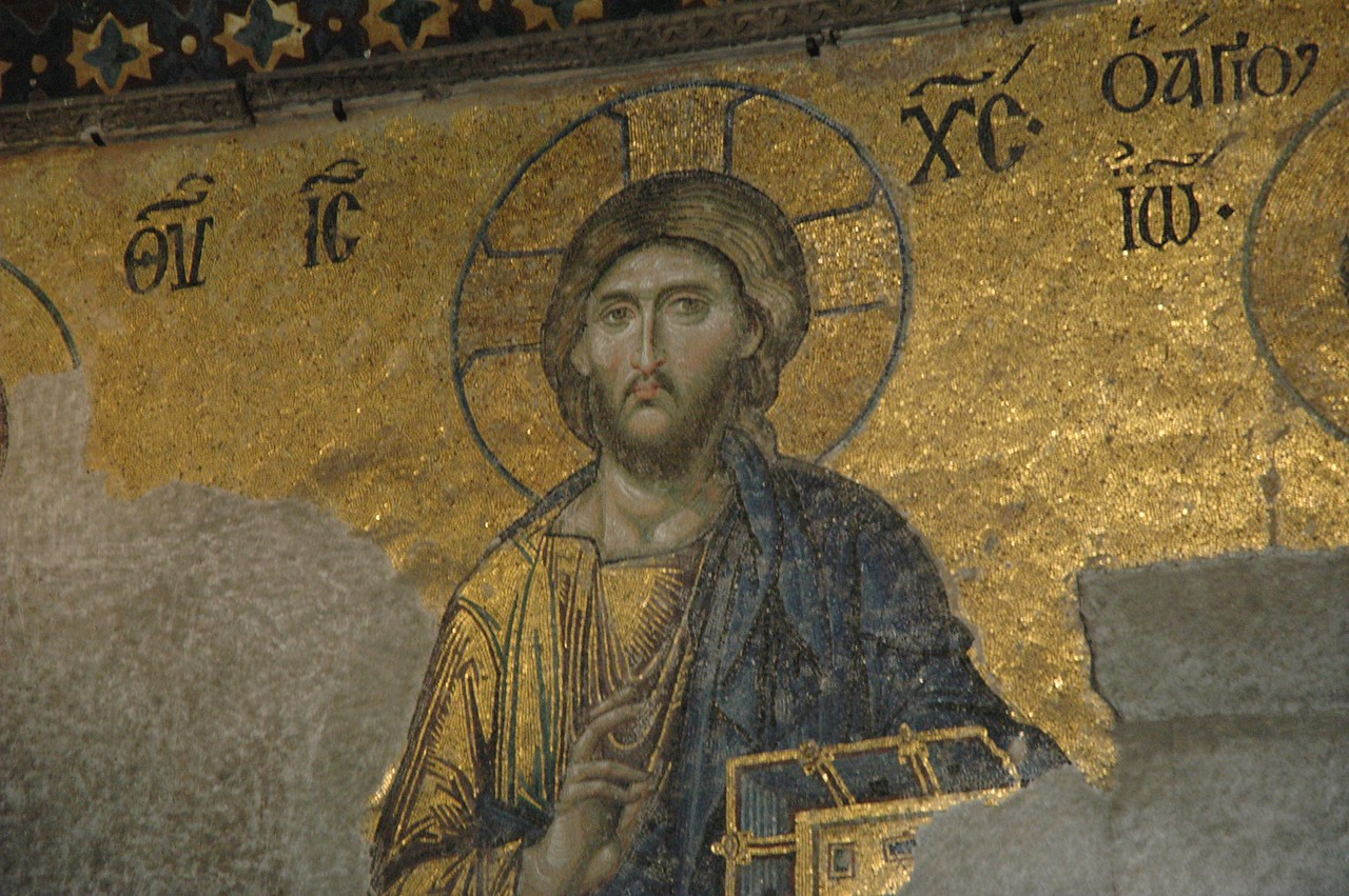 A restored mosaic in the famous St. Sophia Church, Istanbul.