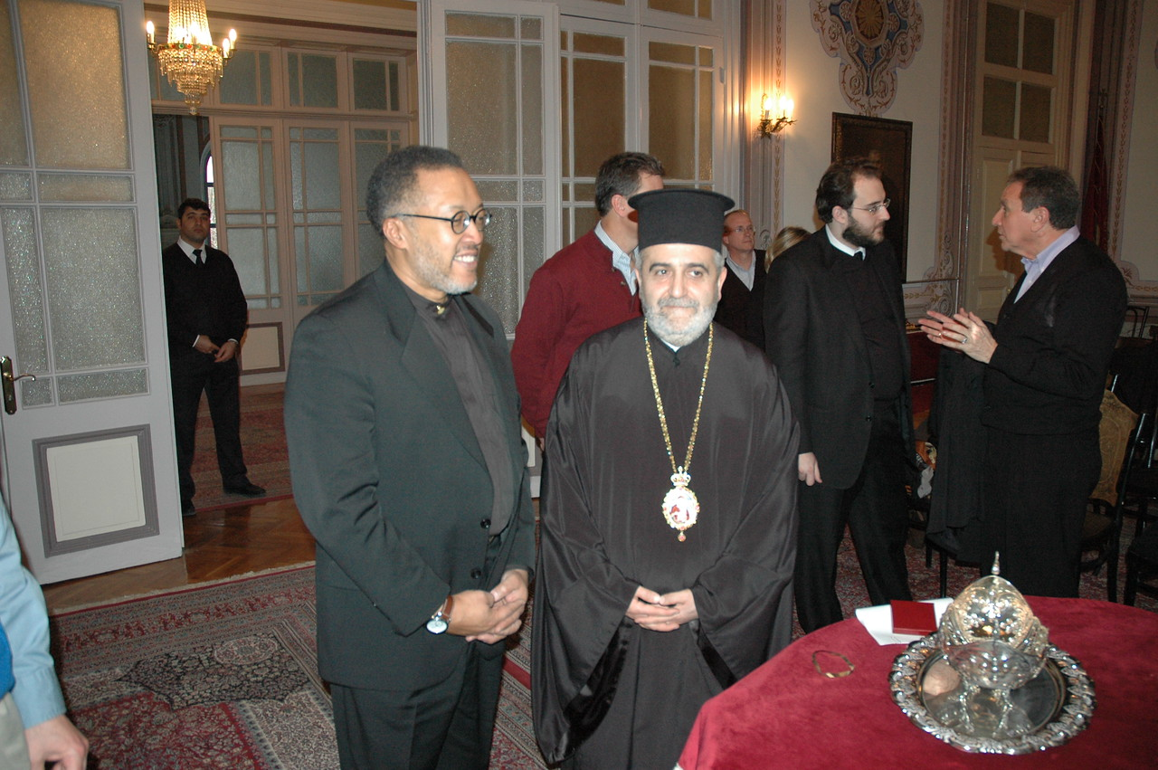 Bishop Callon Holloway, left, ELCA Southern Ohio Synod, greets Metropolitan Apostolos of Mosholmisia, who hosted the ELCA delegation at the Theological School of Halki (Turkey), Feb. 7.