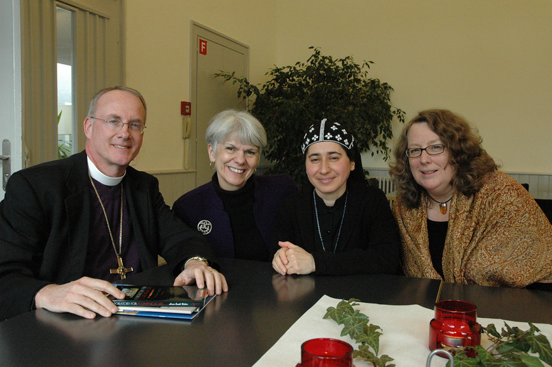 Sister Theodora Baradeus, Damascus, Syria, third from left, with three members of the ELCA delegation at the WCC Ecumenical Institute at Bossey (Switzerland) Feb. 16: From left, Bishop Michael Burk, ELCA Southeastern Iowa Synod; Myrna J. Sheie, ELCA Office of the Presiding Bishop; and Deborah Chenoweth, Hood River, Ore., ELCA Church Council.