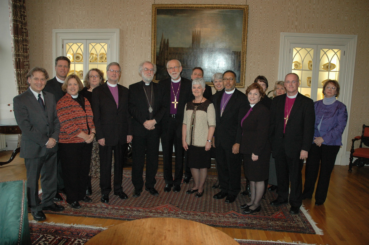 The 2010 ELCA Ecumenical Journey delegation, with the Archbishop of Canterbury, Dr. Rowan Williams, fourth from the left, first row.