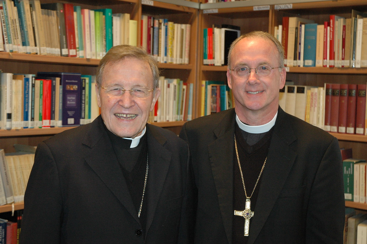 Cardinal Walter Kasper, the Vatican's chief ecumenical leader, and Bishop Michael Burk, ELCA Southeastern Iowa Synod.