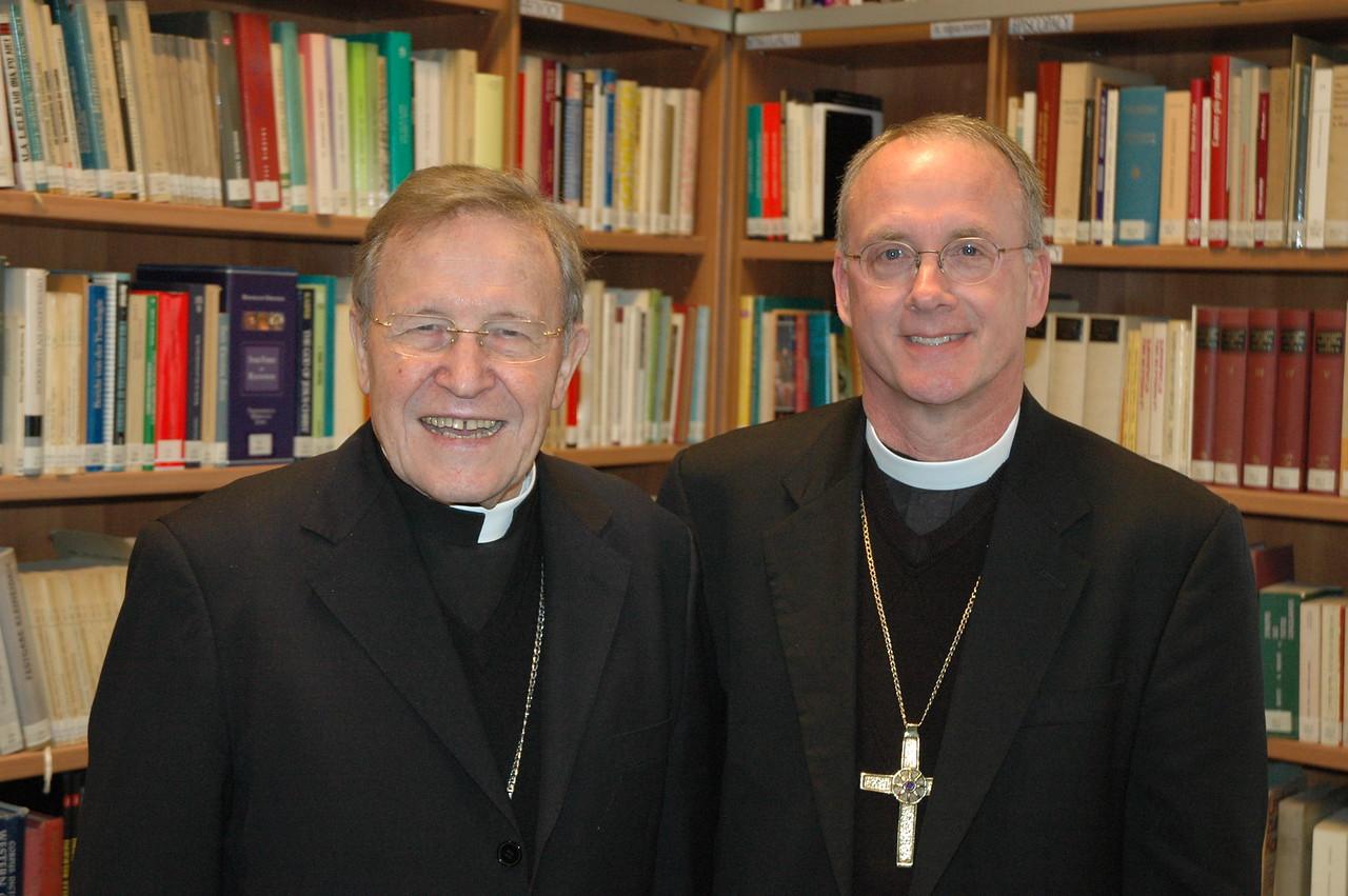 Cardinal Walter Kasper, the Vatican's chief ecumenical leader, and Bishop Michael Burk, ELCA Southeastern Iowa Synod.
