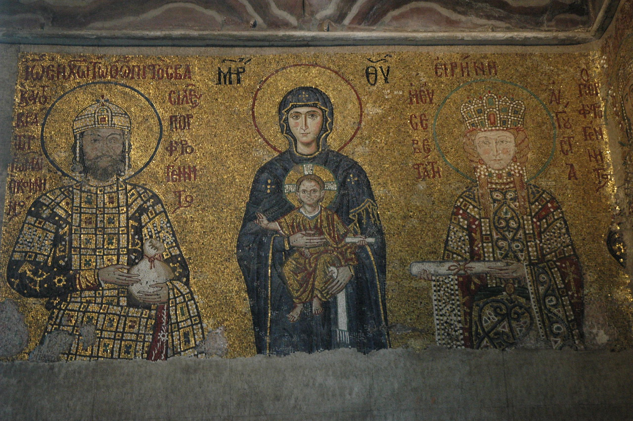 A restored mosaic in the famous St. Sophia Church, Istanbul. edit