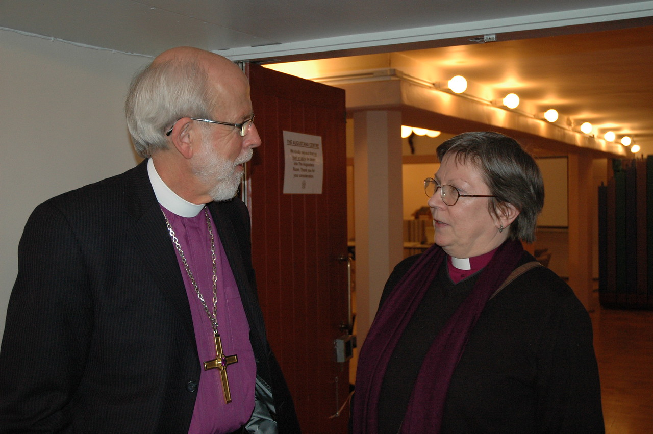 ELCA Presiding Bishop and LWF President Mark S. Hanson, left, has a conversation with Bishop Jana Jeruma-Grinberga, Lutheran Church in Great Britain.